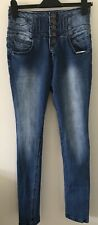 Ladies Blue Skinny Fit High Waist Jeans Size 12 By Yes Yes At New Look