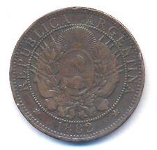 1882 ARGENTINA 2 CENTAVOS 1882  SUPER RARE DATE COPPER COIN KM 33