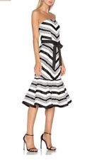 NWOT Alexis Kristen Dress SZ Small Strapless Striped $825 Black/white