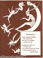FAIRIES & Elf on Crescent MOON Stars Sky DANCING  Vintage 1929 MATTED Picture