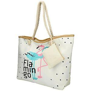 Sac Fourre-tout Shopping Femme Flamant Rose Cabas Porte Monnaie Blanc Plage Neuf