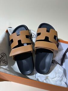NEW Hermes Chypre Ankara Oran Dad Beige Tan Leather Techno Sandals Sold Out 37.5