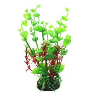 Artificial Plastic Plant Water Grass With Ceramic Base Aquarium Fish Tank Decor