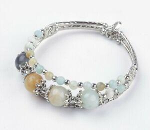 Amazonite Cuff Bracelet Crystal Gemstone Chakra Silver Mala Bangle Ladies New UK