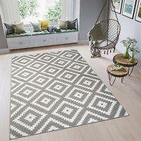 Teppich Kurzflor Grau Weiß Karo Marokkanisch Modern Designer Wohnzimmer NEUHEIT