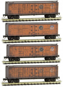 Micro-Trains MTL Z-Scale Wood Reefers Pacific Fruit Express/PFE - Weathered 4-Pk