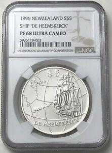 1996 Silver New Zealand $5 Ship De Heemskerck 31.47 Grams Coin NGC Proof 68 UC