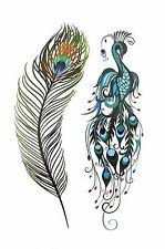 !250-10.5x6 CM NiX 3D Temporary Tattoo Peacock Feathers Women Girl Arm Tattoos