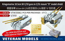 "Veteran Models 1/350 Kriegsmarine 10.5cm SK C/33 Guns in C/31 Mount ""D"" Shield"
