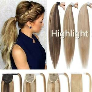 AU Real Remy Wrap On Pony Tail Human Hair Extensions Clip in Ponytail Hairpiece