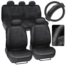 Car Seat Covers PU Leather Black + Deluxe Stitching Steering Wheel Cover
