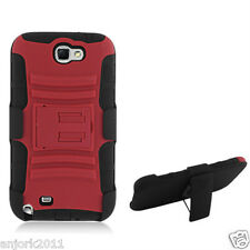 Samsung Galaxy Note II 2 Hybrid Cover Case w/ Stand + Holster Red Black