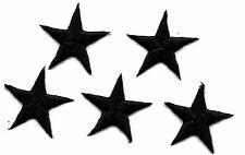 "STARS -  7/8"" BLACK STAR (5 Pc) - Iron On Embroidered Applique - Astrology"