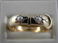 Antique 18K 18ct Gold Buckle Ring with Pearls 1874