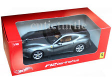 Hot Wheels Ferrari F12 Berlinetta 1:18 Diecast Model Car BCJ74 Grey