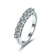 0.7CT Seven Stone Solid 18K White Gold Real Moissanite Engagement Band Ring