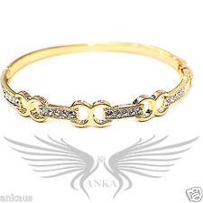 Beautiful Crystal Accented Oro Laminado Gold Plated Bangle Bracelet OL-BA1113