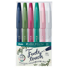 New Pentel Fude Touch Sign Pen 6 Set Nuance color SES15C-6STB Japan Import