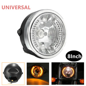 "8"" Motorcycle Modified Headlight Amber Far Light Headlamp LED Turn Signal Light"
