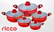 RED 5PC NON STICK CERAMIC COATED DIE-CAST CASSEROLE SET INDUCTION COOKWARE -RB