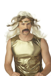 Rock Gold Blonde Wig and Moustache