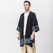 Men's Open Front Ethnic Cardigan Kimono Cape Cloak Gown Loose 3/4 Sleeve Jacket