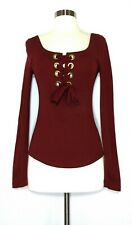 FREE PEOPLE  Top Knit Stretch Cotton Wine Red Grommet Lace Up XSMALL XS