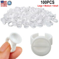 100 Disposable Glue Ring Holder Pallet f/ Eyelash Extension Tattoo Pigment S/M/L