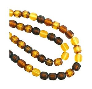50 Assorted Fall Topaz Mix Czech Fire Polished Glass 6mm Faceted Cathedral Beads