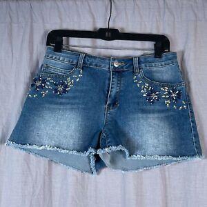 Boston Proper Gem Accent Frayed Hem Denim Women's Size 8 Jean Shorts Pockets