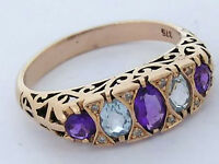 R307 Genuine 9K Yellow Gold Natural Amethyst& Topaz Diamond Eternity Ring size P
