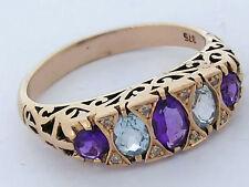 C257 Genuine 9K Yellow Gold Natural Amethyst& Topaz Diamond Eternity Ring size P