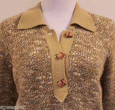 Women's Vintage Hallamore Size 12  Wool Knit Bamboo Button Sweater Made In Italy