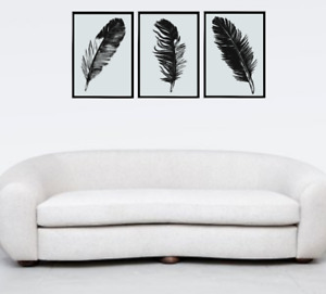 Feather x3 Grey Photograph Bedroom Wall Art Print Poster A4