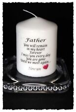 "Father  memorial candle Until we meet again poem 3"" pillar candle"