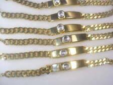 "X 8 ""Lg 14Kt Ep Plated Lot 103Us 6.Cyystal Curb Chain Bracelet 9 Mm .3/8"" Wd"