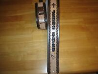 CUSTOM MADE LEATHER GUITAR STRAP/JESUS SAVES CROSS & PRAYING HANDS 2 1/2'' WIDE