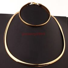 Women/men's Jewelry Gold Tone Stainless Steel Choker Necklace Bracelet Set Hot