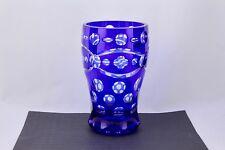 BOHEMIAN COBALT BLUE CUT TO CLEAR CRYSTAL ART GLASS VASE - MINT
