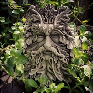 🇬🇧STONE GARDEN ACORN LEAF GREEN MAN BEARDED FACE WALL PLAQUE HANGING🌿🍂