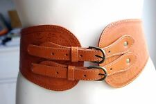 retro flower tooled wild west wide 2 buckles brown elasticated faux leather belt