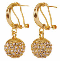 Swarovski Elements Crystal Lucky Ball Pierced Earrings Gold Authentic New 7252w