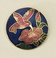 Vintage cloisonne hummingbird  flower   brooch pin  enamel on metal