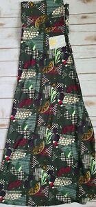 NWT LuLaRoe 3XL MAXI Skirt Dress Solid Teal Geometric Leaf Accents Super Cute!