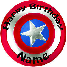 "Personalised Birthday Captain America Shield Round 8"" Precut Icing Cake Topper"