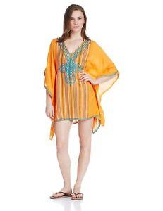 Nanette Lepore Mango Orange Medina Caftan Swim Cover-Up Dress Size S