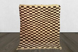 Neutral Moroccan Brown Checker rug, Berber checkered Custom rug Morocco area rug