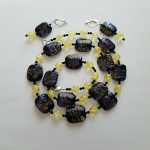 Necklace & Earrings Set ~ Lampwork Glass, Cracked Glass, &  Crystal ~ 925 Clasp