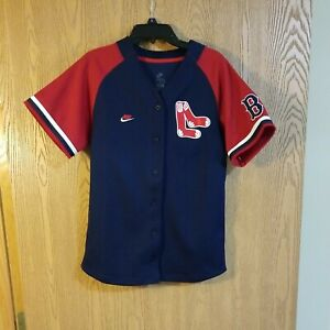 BOSTON RED SOX NIKE BLANK SEWN BUTTON JERSEY YOUTH S EUC