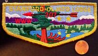 MERGED STANFORD-OLJATO LODGE 207 OA STANFORD AREA PATCH GOLD MYLAR SERVICE FLAP